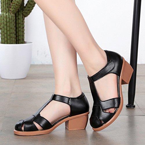 Damen Ankle-strap Plateau T-Spangen Sandalen Schwarz