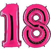 XXL Globo de la hoja 100 cm Balón de Helio Número 18 ROSA brillante Rosa Decoración del globo del cumpleaños No 18