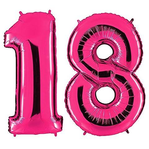 Ballon Zahl 18 in Pink - XXL Riesenzahl 100cm - zum 18. Geburtstag - Party Geschenk Dekoration Folienballon Luftballon Happy Birthday Rosa - PARTYMARTY GMBH®