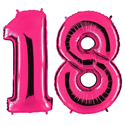 Ballon Zahl 18 in Pink - XXL Riesenzahl 100cm - zum 18. Geburtstag - Party Geschenk Dekoration Folienballon Luftballon Happy Birthday Rosa - PARTYMARTY