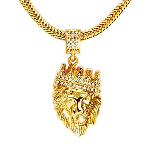 (Gudeke Männer 18k reales Gold überzogene Krone König der Löwen hängende Halskette, Cz Inlay, mit FREE Fishtail Hip Hop Kette 30