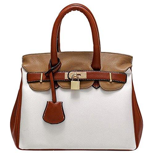 YouPue Damen Fashion Elegant Shopper Bag Umhängetaschen Schulterbeutel Abendtaschen Braun& Weiß