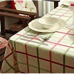 XIAOMEIXI Mantel verde de la tela de la tela escocesa del color de rosa de la fibra de algodón para la cocina , 140*220cm