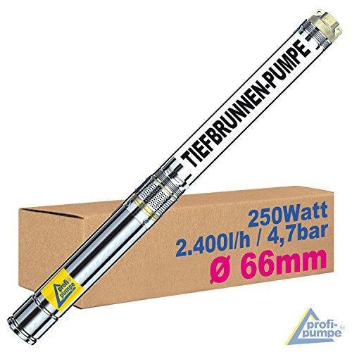 SONDERANGEBOT! 250Watt-2,5Zoll - TAUCHPUMPE BRUNNENPUMPE Brunnen-Star-250-5 - Die SCHLANKE TIEFBRUNNENPUMPE mit hoher Leistung!