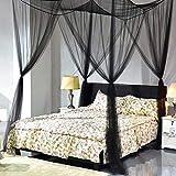 Wuudi Dekorative 4Ecke, Einem Baldachin Netz Vorhänge Schwarz Moskitonetzen Mesh Post Moskitonetz Prinzessin Betthimmel für Doppelbett Schlafzimmer Decor Schwarz