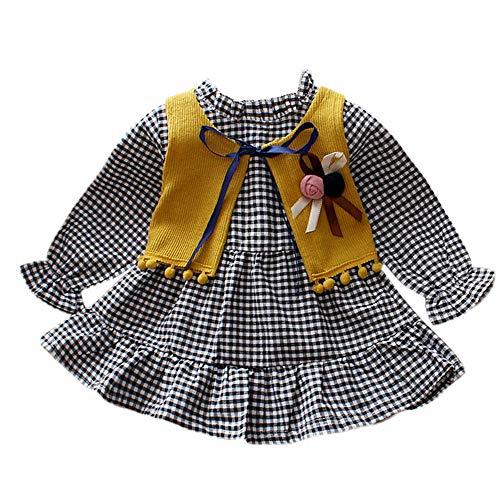 WeblaNeugeborenen Baby Mädchen Langarm Plaid Kleid + Mode Weste Pullover Outfits Kleidung Set (6-24 Monate) (12-18 Monate, Gelb) (Mädchen Winter Mantel 14 16)