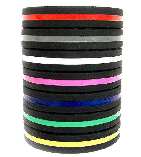 Solza Silikonarmbänder (7er Set) Unisex Perfekt für Fitnesstraining, Crossfit, Fußball, Basketball & Sporttraining | Dünnes und leichtes Armband | Hypoallergen, Latex Frei, BPA-frei