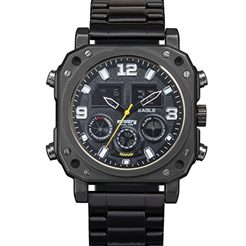 Infantry Herren Analog-Digital Armbanduhr Datum Alarm Beleuchtung Outdoor Schwarz Edelstahl Armband