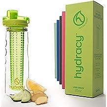 Hydracy Botella de agua con filtro infusor para fruta 750 ml con funda aislante antitranspirante - plástico durable con calidad 100% sin BPA ìPerfecta para hacer deporte y cuidar tu salud! Limón Verde