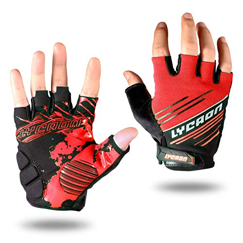 LYCAON Guantes Ciclismo Medio Gel Dedo Padded Riding
