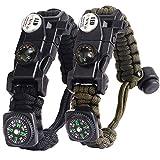 Paracord Survival Armband Kit für Herren Damen, Survival Armband mit Feuerstein + Kompass + Thermome (Schwarz + Armeegrün)