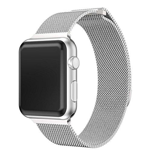 Preisvergleich Produktbild Wawer Milanese Edelstahl Magnet Uhrenarmband für Apple Watch Serie 3 38MM (Silber)