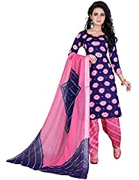Taboody Empire Aanchal Pink Satin Cotton Handi Crafts Bandhani Work With Straight Salwar Suit For Girls And Women