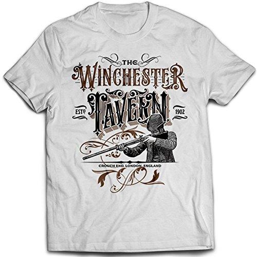 9143w Winchester Tavern Herren T-Shirt Shaun Of The Dead Hot Fuzz The World's End Zombie Apocalypse Weiß