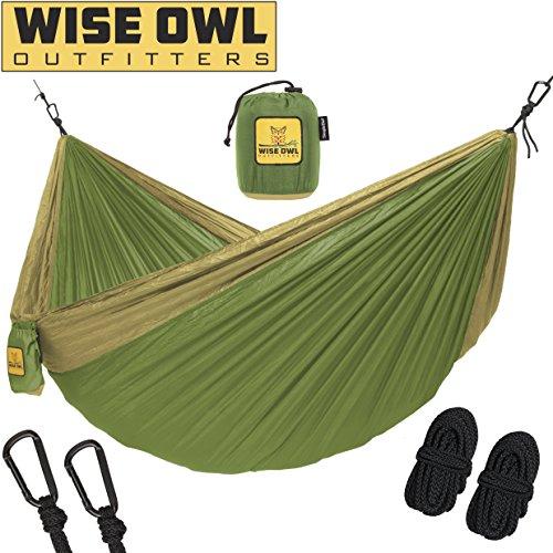Wise Owl Outfitters Hängematte - Einzel- Und Doppel Camping Hängematten - - Tragbares Leichtes Fallschirm Nylon. SingleOwl SO Grün Und Khaki
