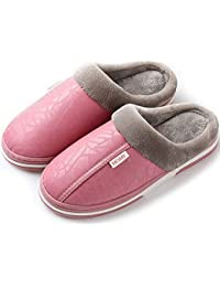 Zapatillas de Estar por casa para Mujer Impermeables de PU Pantuflas Térmicos de Invierno Suave Algodón