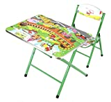 #10: Fusine™ Fully Foldable Table & Chair Study cum Activity Table Play Set for kids (Green 2)