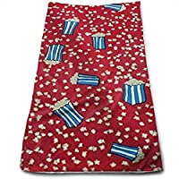 ewtretr Toallas De Mano, Circus Popped Popcorn On Red Microfiber Beach Towel Large & Oversized