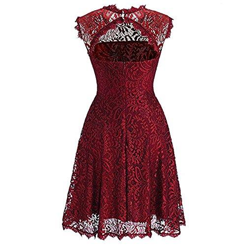 iBaste Elegante Vestito Vintage Donna Lace Senza Maniche Cocktail Dress per Partito / Casual Rosso