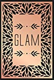 GLAM: Glamorous lined journal in chic soft rose gold on a dark cover. Beautiful feminine notebook for diaries and notes.