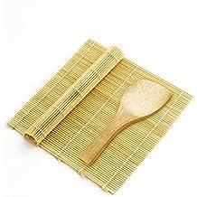 Interesting® Sushi rollo de sushi de la herramienta del kit del fabricante 2 enrollables esteras y 1 paleta para arroz