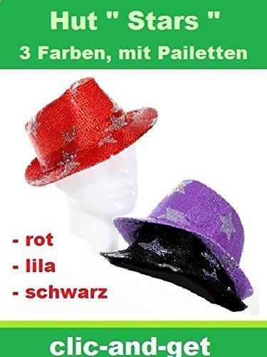 Hut Pailetten Trilby Hut Disco Look Polyester schwarz rot lila Neu (Lila)