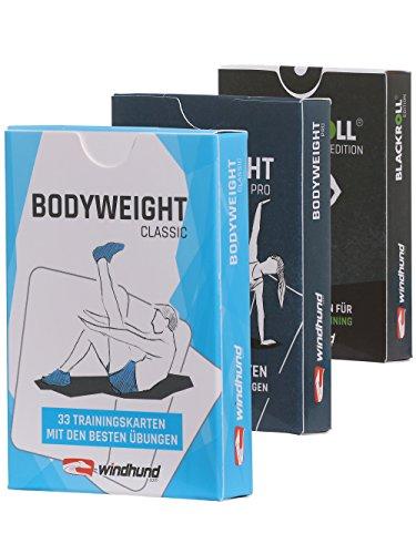 WINDHUND Fitness Trainingskarten 3er Set - Übungen für effektives Ganzkörpertraining