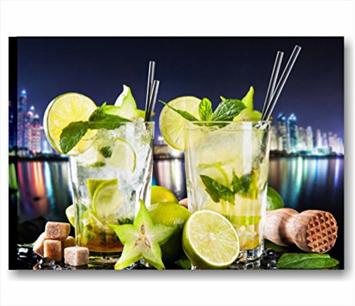 Fresh cocktail night 2 - Quadro moderno intelaiato 70x50 cm tela stampa quadri moderni skyline lime aperitivo gin mojito vodka arredamento lounge bar ristorante pizzeria casa cucina pub wall art forniture canvas home decor arredo camera letto studio salotto ufficio hotel