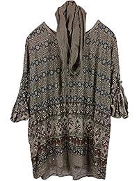 Damen T-Shirt Tunika Rundhals mit Schal in Ethno-Look aus edlem Baumwoll/Leinen-Mix, verstellbare 3/4-Arm, locker geschnitten, MADE IN ITALY