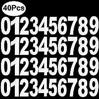 Outee 40 Pcs Wheelie Bin Números Pegatinas de Número Grande Self Adhesive Bins Números Pegatinas Blanco Números, 0 a 9, 17.5 CM por 9 CM