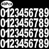 Outee 40 Pezzi Bianco Autoadesivi Bidone Numeri Cestino Numero Adesivi Gran Numero Degli Adesivi da 0 a 9 il Numero, 17,5 CM da 9 CM