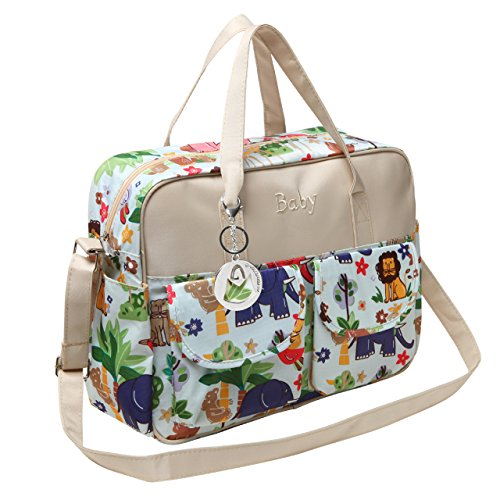mg-collection-fashion-beige-jungle-animals-top-handle-travel-baby-bag-diaper-tote-bag-w-changing-pad