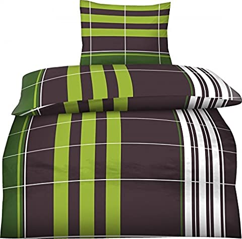 2-Teilig Hochwertige Biber Bettwäsche Alvin braun, grün mit Reißverschluss 1x 135x200 Bettbezug + 1x 80x80 Kissenbezug GRATIS 1x SCHAL