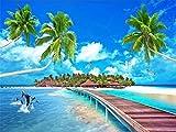 BHXINGMU Wandbild Benutzerdefinierte Wandbild Fototapete Malediven Landschaft Kunst Tapete Schlafzimmer Wanddekoration 280Cm(H)×400Cm(W)