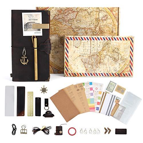 GRT Leder handgefertigte Reisende Notizbücher füllen Reise-Logs Vintage-Rindsleder Bücher Scrapbook DIY Sketch Retro-Stil kreative Accessoires über 30 Stück perfektes Geschenk für Männer und Frauen