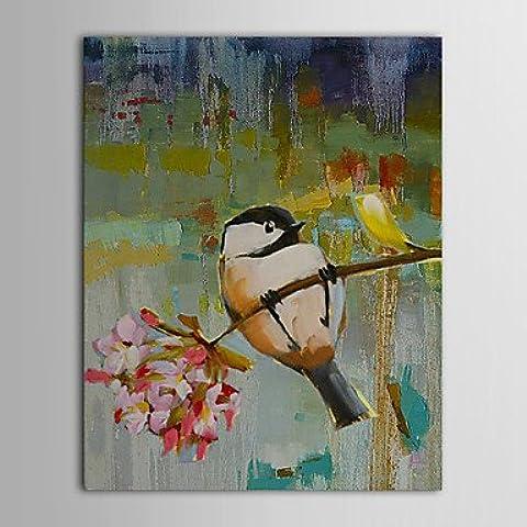 Dipinte a mano pittura a olio animale giovani uccelli nel ramo di albero con telaio allungato