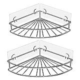 Oriware Eckablage Duschkörb Ablage Selbstklebend Wandablage Badezimmer Caddy SUS304 Edelstahl Badregal Ohne Bohren - 2 Stück