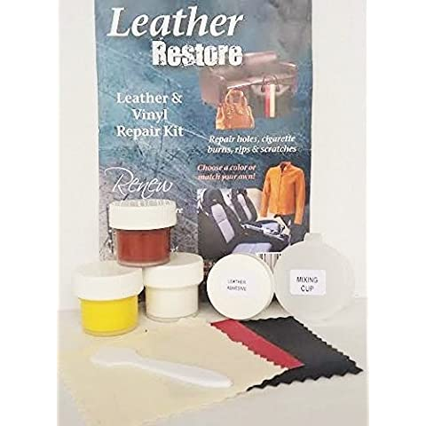 Leather Restore Air Dry Leather and Vinyl Repair Kit Fixes Rips Scratches Holes on Beige, Saddle Colored Furniture Sofas Auto Seats by Leather Restore