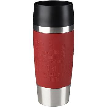 Emsa Isolierbecher Mobil genießen 360 ml Quick Press Verschluss Travel Mug -Rot (Manschette Rot)