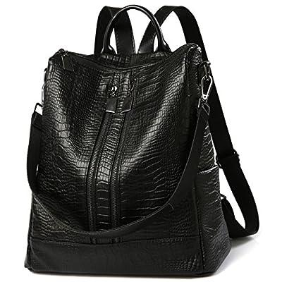 Sac à dos Femme Sac de PU Leather Cartable Sac de voyage Filles Sac à dos loisirs Noir