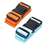 CSTOM 2 Stück Lange Kofferband der Koffer Gurte, 5x200 cm, Orange + Blau