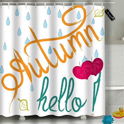 Randell Bathroom Shower Curtain Quote Bonjour Paris Waterproof Fabric Shower Curtain 60(W) X 72(L) Inches For Men Women Kids