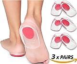 3 paires Feet Confort Gel talonnettes – éperon calcanéen Gel talonnettes en silicone Coussin médical Femme Talon soutien Tendon d'Achille Heel