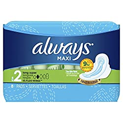 Always Maxi Long Super Pads with Flexi-Wings 8-Count