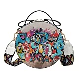 Best Simple Cotton Rounds - Women Crossbody Bags Graffiti Leather Round Mini Shoulder Review