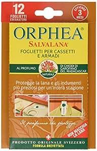 Orphea - Salvalana Foglietti Anti Tarme al Profumo di Chiodi di Garofano del Madagascar, Confezione da 12