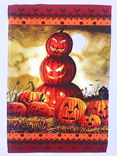 Halloween Fall Garten Flagge; Geschnitzt Jack O 'Lantern Kürbisse; 30,5cm von 45,7cm