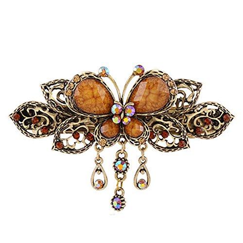 TOOGOO pinces a cheveux de papillon de style retro des femmes Barrette Outils de beaute (cafe)