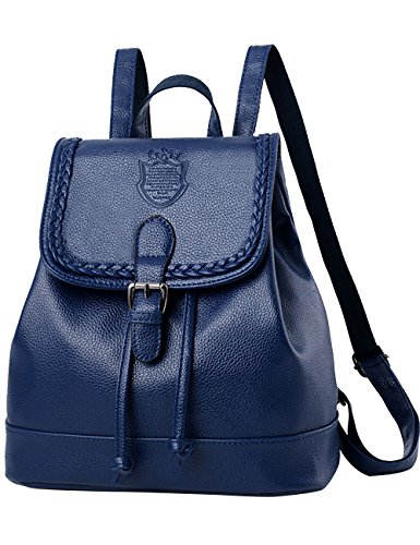 Menschwear Ladies One-color Simple Style Pu Leather Casual Borsa Scuola Zaino Da Viaggio Blu Blu