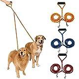 dgyl88 Doppel-Hundeleine, geflochten, kein Verheddern, doppelte Leine, Splitter-Verbindungsstück, weicher Griff, für das Laufen mit Zwei Hunden (Rot und Gelb)